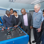 With Captain Godfrey Schlemmer with Tobela Gqabu and Lawhill students on the bridge simulator at SAMTRA
